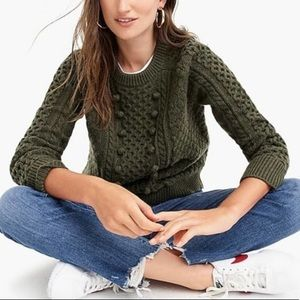 J. Crew Popcorn Cable Knit Chunky Lambs Wool Blend Sweater M